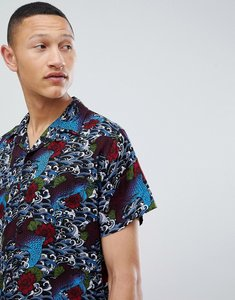 Read more about Brave soul short sleeve tattoo print shirt with revere collar - navy