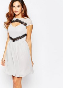 Read more about Elise ryan skater dress with contast lace trim - silver grey black