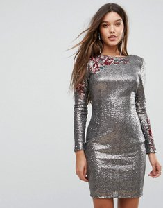Read more about Little mistress allover sequin bodycon dress with floral lace applique - silver