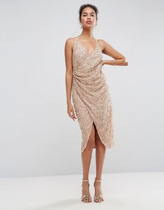 Read more about Asos all over embellished scattered drape midi dress - rose gold