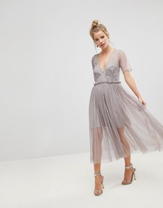 Read more about Asos embellished deep plunge mesh midi dress with delicate beading - soft grey