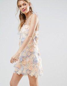 Read more about Asos salon 3d laser cut mini dress with tie straps - multi