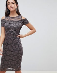 Read more about Ax paris cold shoulder lace pencil dress - pewter