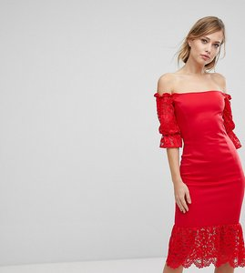 Read more about Silver bloom lace insert bodycon midi dress - red