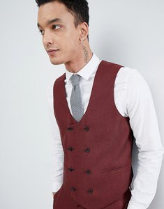 Read more about Asos design wedding skinny suit waistcoat in wine micro texture - red