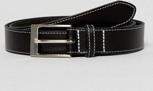 Read more about Asos smart slim belt in black leather with contrast stitching - black