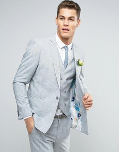 Read more about Asos wedding skinny suit jacket in crosshatch nep with floral print lining - light grey