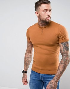 Read more about Asos knitted muscle fit polo shirt in tan - tan
