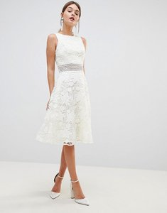 Read more about Chi chi london crochet lace skater dress with laddering insert - white nude