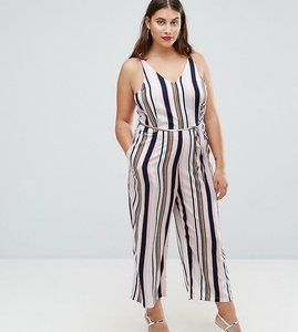 Read more about Ax paris plus stripe culotte jumpsuit - white base stripe