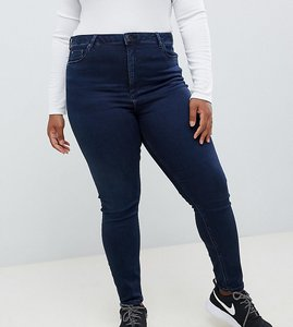 Read more about Asos design curve ridley high waist skinny jeans in blackened blue wash - blacked blue wash