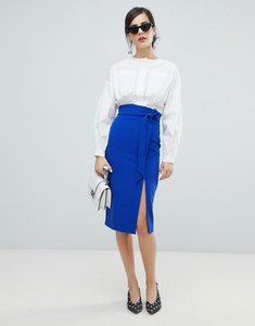 Read more about Oasis paperbag waist split front pencil skirt - rich blue