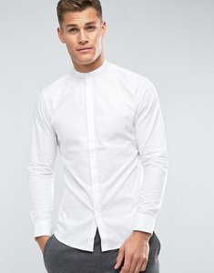 Read more about Selected homme slim fit grandad shirt - bright white