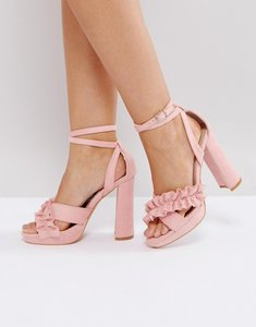 Read more about Glamorous pink ruffle cross strap heeled sandals - dusty pink