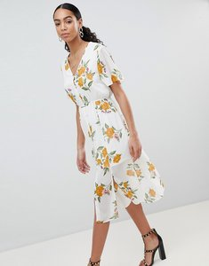 Read more about Missguided floral button front midi dress - white