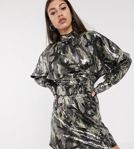 Read more about Asos design tall mini dress in camo sequin in slouchy fit with belt