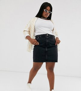Read more about Asos design curve denim original high waisted skirt in washed black - washed black