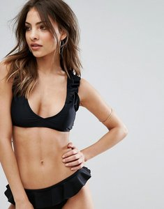 Read more about Missguided mix match frill bikini top - black