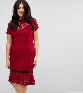 Read more about Paper dolls plus cap sleeve lace dress with crochet trim - wine