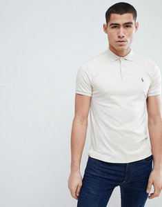 Read more about Polo ralph lauren slim fit pima soft touch polo with multi player logo in beige marl - beige