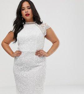 Read more about Chi chi london plus lace pencil midi dress in white