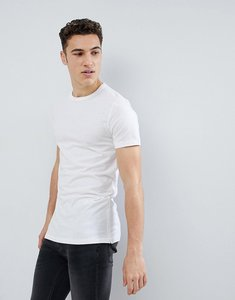 Read more about French connection long line side zip t-shirt - white