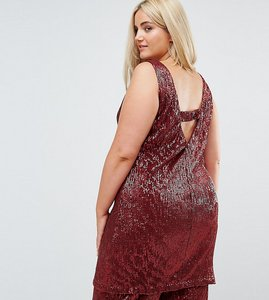 Read more about Elvi allover premium sequin shift dress with v back - brick