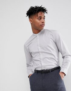 Read more about French connection plain poplin grandad slim fit shirt - grey
