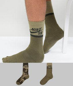 Read more about Nike sb 2 pack crew socks in green sx6848-902 - green