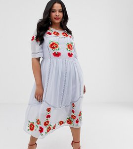 Read more about Asos design curve embroidered smock midi dress with ladder trims