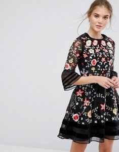 Read more about Frock and frill premium embroidered mini dress with exaggerated sleeve - black