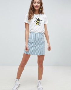 Read more about Asos design double breasted mini skirt in blue stripe with buttons - multi