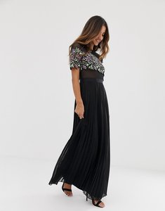 Read more about Forever u maxi dress with lace detail in black