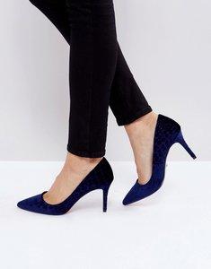 Read more about Dune london aisha velvet point court shoes - navy-velvet