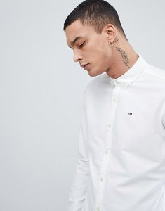Read more about Tommy jeans button down collar regular fit basic flag logo oxford shirt in white - white