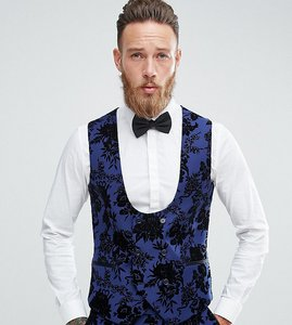 Read more about Noose monkey wedding super skinny suit waistcoat in flocking - blue