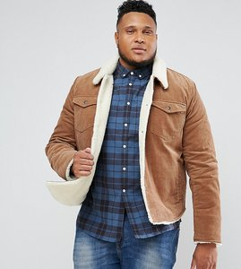 Read more about Asos plus borg lined cord jacket in brown - brown