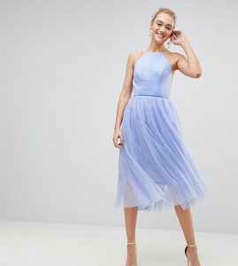 Read more about Asos tall premium scuba pinny midi tulle dress - powder blue
