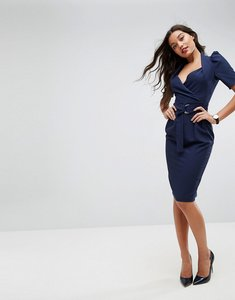 Read more about Asos shawl collar wrap midi dress with short sleeve - navy
