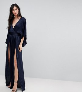 Read more about Flounce london tall wrap front kimono maxi dress with double thigh splits and bodysuit - navy