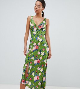 Read more about Asos design tall button through floral midi jacquard slip dress - multi