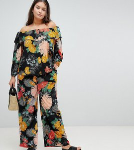 Read more about Glamorous curve relaxed trousers in bold floral - black floral