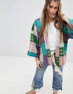 Read more about Aratta premium silk patchwork jacket with kimono sleeves - multi