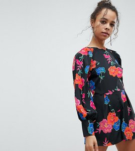 Read more about Asos petite tea playsuit in floral print - multi