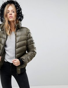 Read more about Qed london short padded jacket with hood - khaki