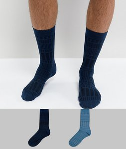 Read more about Asos socks in geo texture 2 pack - blue