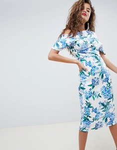 Read more about Asos design pleated shoulder midi dress in floral print - floral print