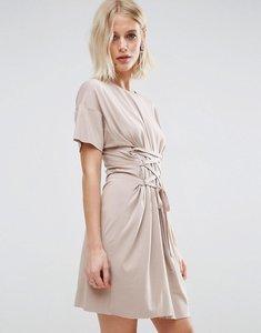Read more about Asos corset detail t-shirt dress - mink