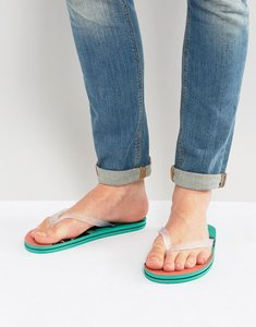 Read more about Asos flip flops in hawaiian print - green