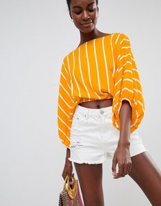 Read more about Asos design batwing top in yellow stripe - multi